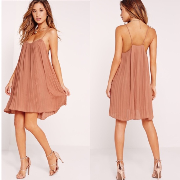 f1d19981a38a Strappy Pleated Swing Dress Nude. NWT. Missguided